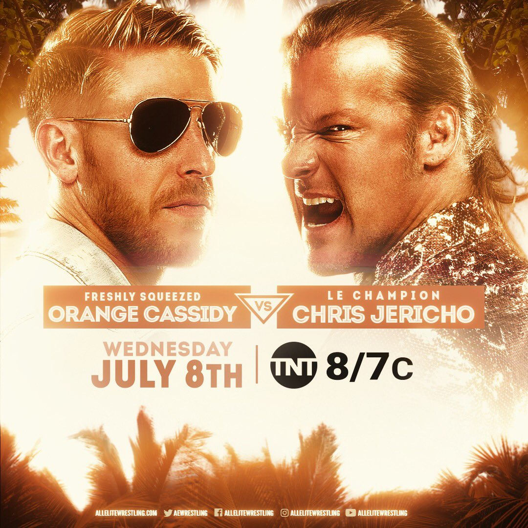 We've just announced big matches for Fight For The Fallen next week! We have more on that show tonight after Fyter Fest! Now on #AEWDynamite, our main event @orangecassidy v. @IAmJericho. Orange is on fire, Chris Jericho in a main event always delivers, this will be a great match