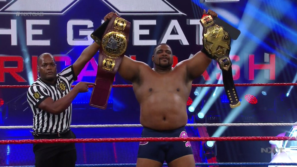BASK IN HIS GLORY.  @RealKeithLee is a DOUBLE CHAMPION as he pins @AdamColePro to win the #WWENXT North American and #NXTChampionship! #NXTGAB https://t.co/E49LNYnrWT