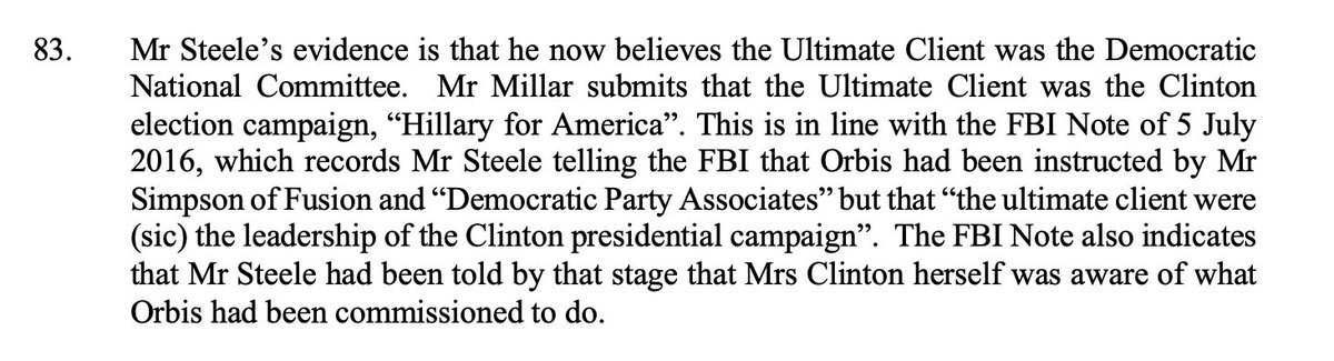 AG Barr has stated that he is concerned about pre-July 31 2016 activity (official start of the FBI Russia investigation). Today ruling from a UK court shows that the FBI were aware of Steeles activities on behalf of Hillary Clintons presidential campaign on July 5, 2016.
