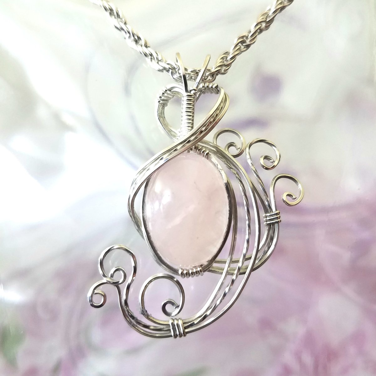 Pink Rose Quartz Womans Pendant Wire Wrapped Jewelry Handmade in Silver With Free Shipping  #etsygifts #bohemian #handmade #fashion #handmadejewelry #jewelry #etsymntt #etsy