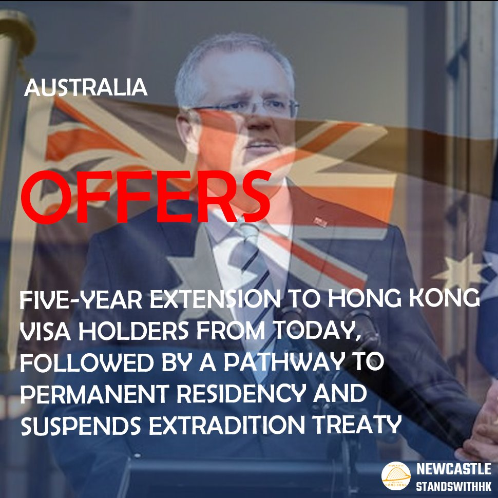 【Australia changes HKers visa rules】  Australia offers five-year extension to HK visa holders, followed by pathway to permanent residency, and suspends extradition treaty.  More info: https://t.co/ZrxNNqAc8g  #hk #hongkong #protest #AUS #australia #citizenship #residency #china https://t.co/1VrJYpj2zM