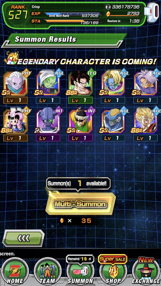 Who's rewind for the first multi for Vegito and then second was my next best pull! Got Gogeta also but forgot to take pic. Started with 2800 stone! Ended at 1800. Good anni!!!! #Dokkan  #DOKKANBATLLE<br>http://pic.twitter.com/6wKp9e5H6l