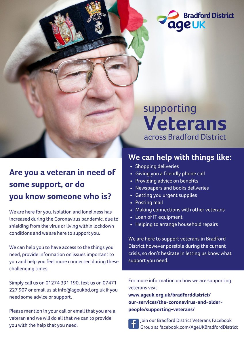 Please RT; service for veterans and those who did national service still here! @PositiveageingB @mffoster30 @T1234Mandy @CNet_Bradford @Laila_CNet @CEO_CABAD @Gillblamires1 @HALEProject https://twitter.com/AgeUKBradford/status/1280789754733375488…pic.twitter.com/SEfxrbTQCp