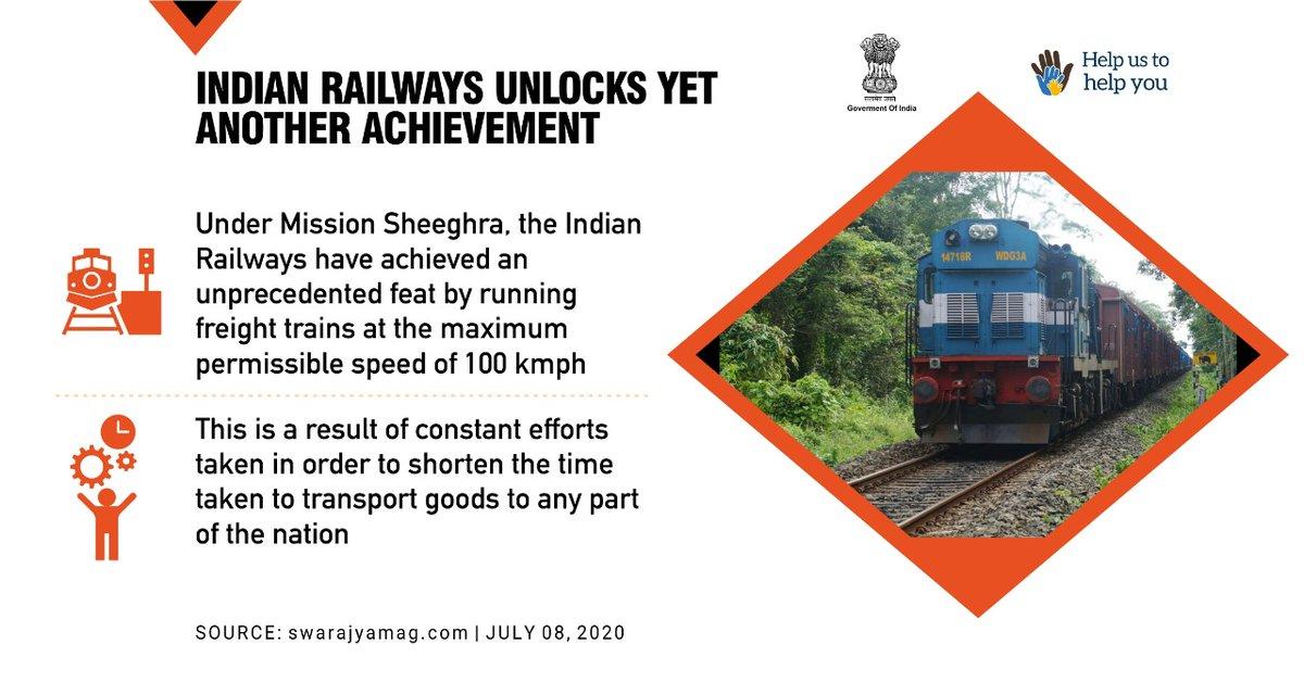Under the lockdown, the Indian Railways unlocks yet another achievement by running freight trains at the maximum permissible speed of 100 kmph.   #IndiaFightsCorona #SupplyWarriors #SwachhBharat  @PMOIndia @PiyushGoyal @gssjodhpur @paramiyer_  @COVIDNewsByMIB @MIB_India https://t.co/u5JUUSwUhI