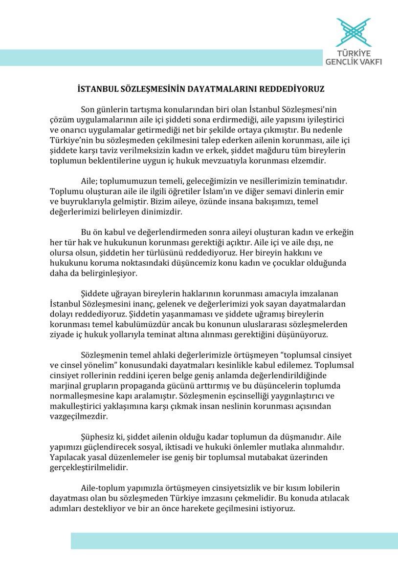 Kadına yönelik şiddetin her daim karşısında olduk, olmaya devam edeceğiz.  İstanbul Sözleşmesi ile ilgili duruşumuz ve tavrımız nettir. TÜGVA olarak konu hakkındaki görüşlerimizi kamuoyunun bilgisine sunarız. https://t.co/F1gHqzLQiU
