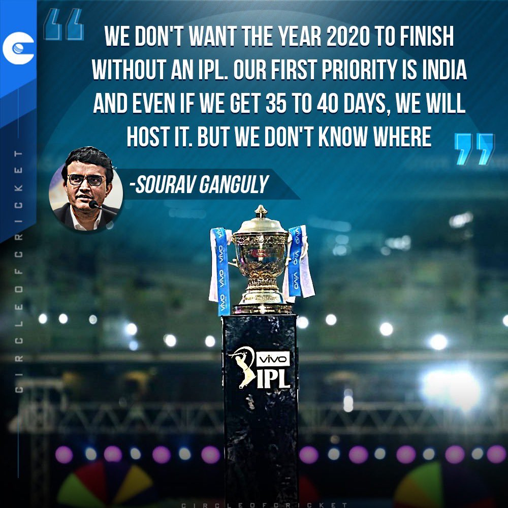 BCCI President Sourav Ganguly raised the hopes of fans who are waiting for some good news in the form of #IPL2020. <br>http://pic.twitter.com/5oA12TiCse