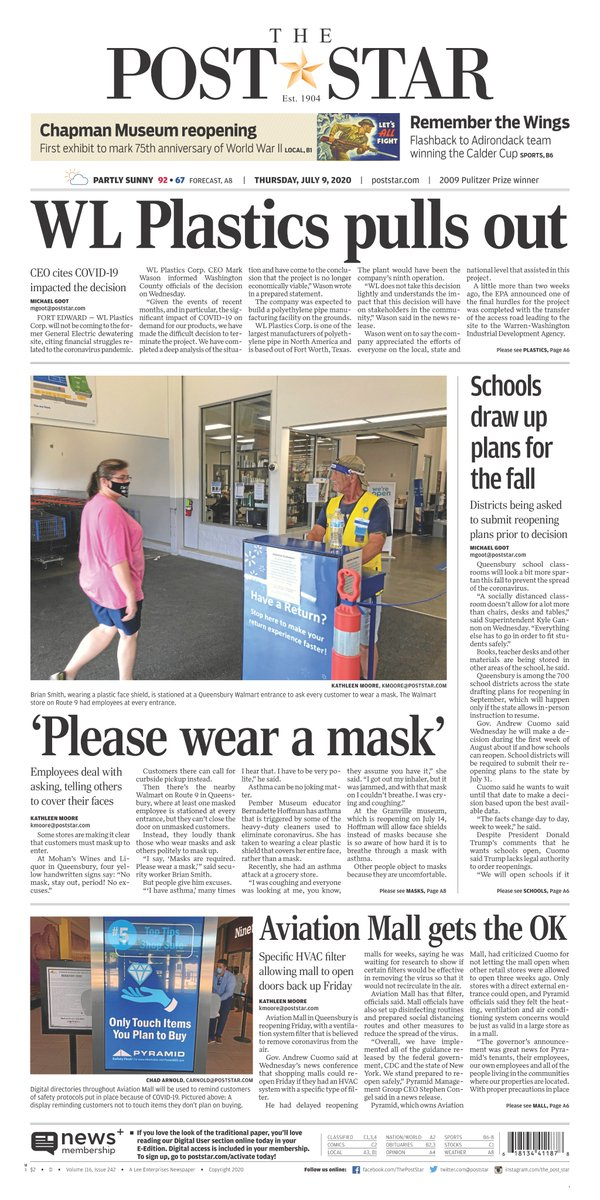 #Frontpage for July 9: WL Plastics pulls out