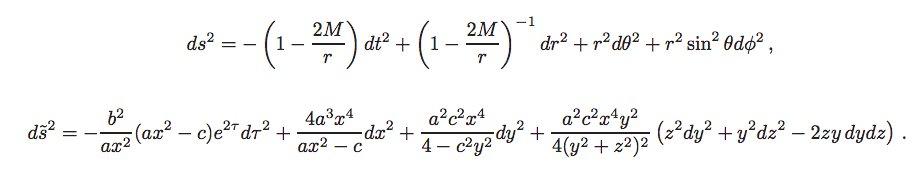 2つの計量がリーマン同値か判定できるアルゴリズム「Cartan-Karlhede Algorithm」の解説リーマン幾何やってると2つの計量が同値かチェックしたいとき普通にあるから、助かるわ〜読み込んでMathematicaに実装すべきか下の2つは同値らしいけど、こんなん分からんよね