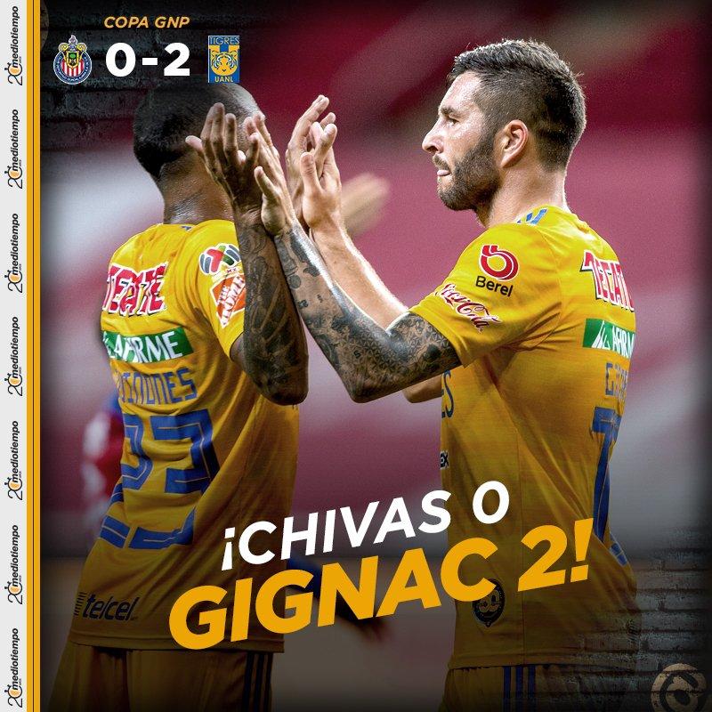 #CopaGNPPorMexico🐐🏆🐯   ¡Tigres da golpe de autoridad en Guadalajara y con doblete de Gignac derrota a las Chivas!  Chivas  0-2  Tigres 🔴EN VIVO: https://t.co/FWj5fNQFlW https://t.co/Bf5ZyJP8u6
