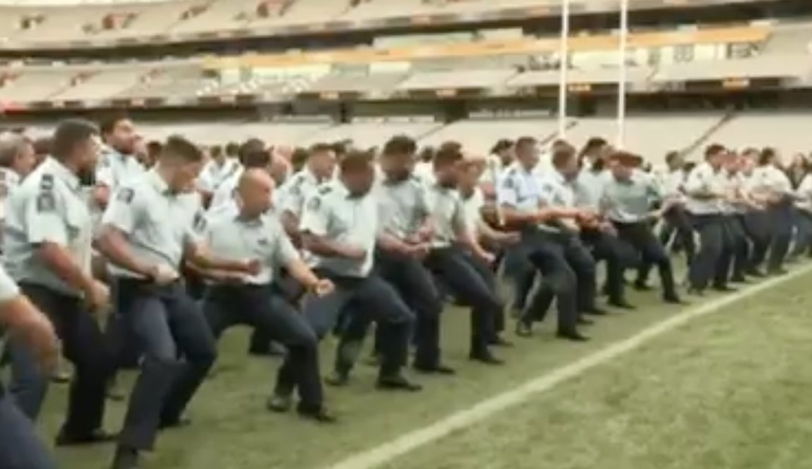 This brings tears to my Kiwi eyes: New Zealand police officers perform a stirring haka to farewell Constable Matthew Hunt, killed in the line of duty  https://t.co/MK4R7frwFs https://t.co/I5tvMCmlg6