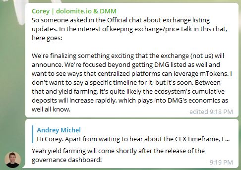 The @DMMDAO team drops an unexpected update in the DMM Traders channel 👀 #DMMDAO $DMG
