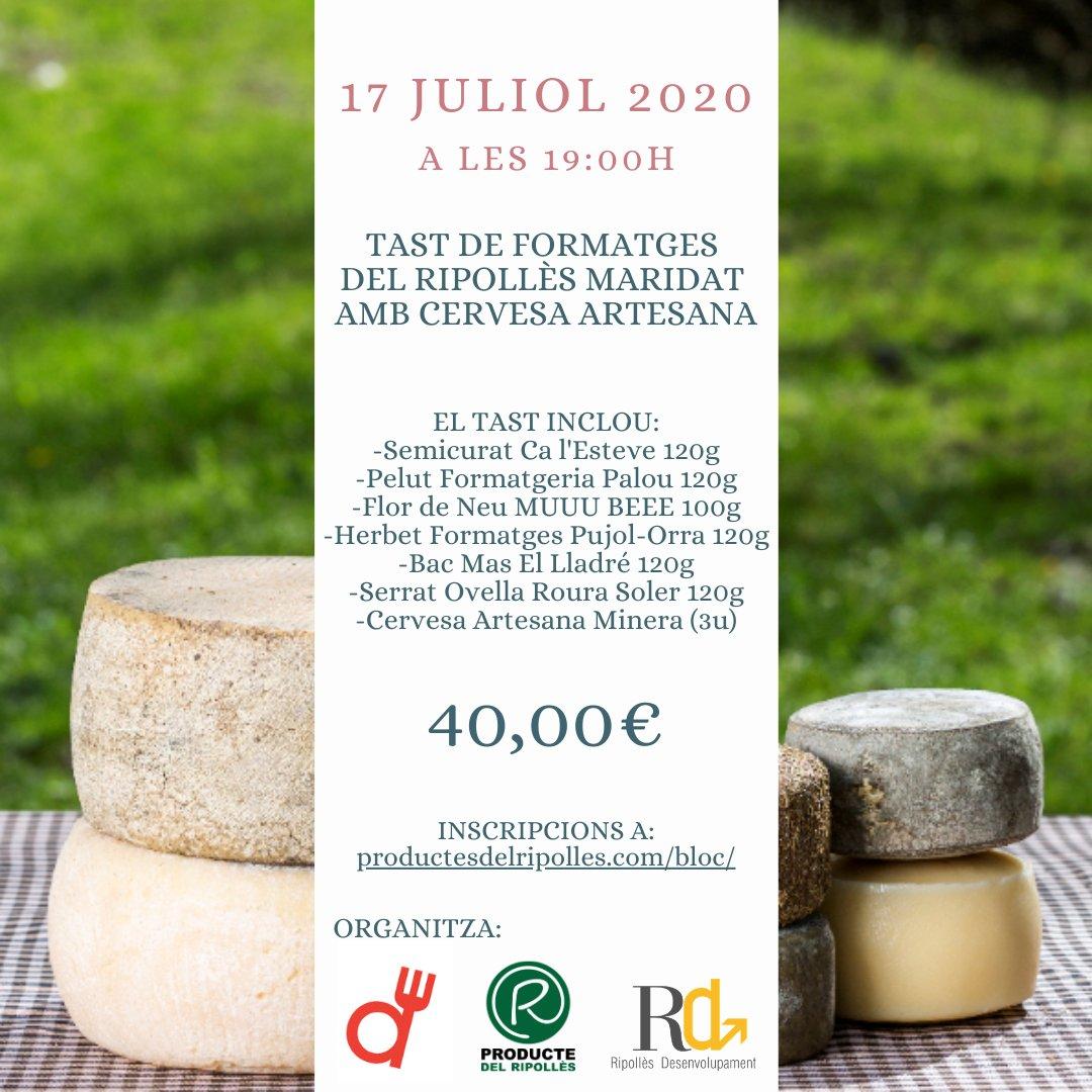 Si tagrada el formatge🧀 i la cervesa 🍺 no et perdis divendres 17/07 a les 19h el TAST EN LÍNIA de formatges del #Ripollès maridat amb Cervesa Artesana Minera. @cervesaminera Mes informació i inscripcions ➡️ productesdelripolles.com/bloc/