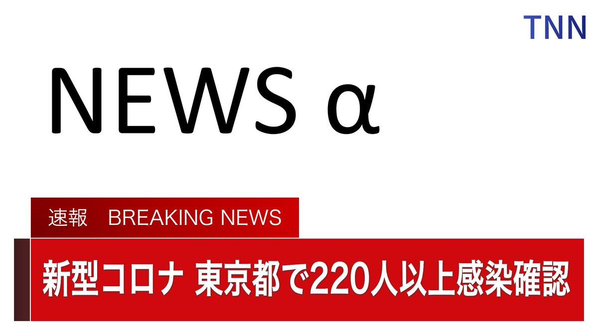 ■ TNN NEWS 速報 ■東京都の関係者によりますと9日、都内で新たに220人以上が新型コロナに感染したことを確認したということです。都内で1日の新規感染者数が200人を超えるのは4月18日以来、82日ぶりで過去最多となります。
