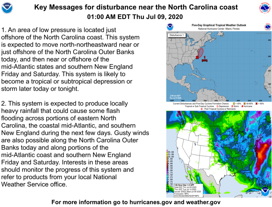 Here are the latest Key Messages for a low pressure system near the North Carolina coast.  This system will likely become a tropical or subtropical cyclone later today or tonight.  More info: https://t.co/tW4KeFW0gB #98L https://t.co/4dRPYziDaE