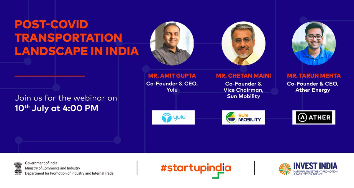 #COVID has caused a rethink, not just on an org level but an industry-wide level as well. Join @tarunsmehta & @startupindia as we breakdown the impact of COVID on the transportation & mobility sectors in India  Set a reminder here: https://t.co/zRje4Kv2gS @YuluBike @SUN_mobility https://t.co/EbocxghFLg
