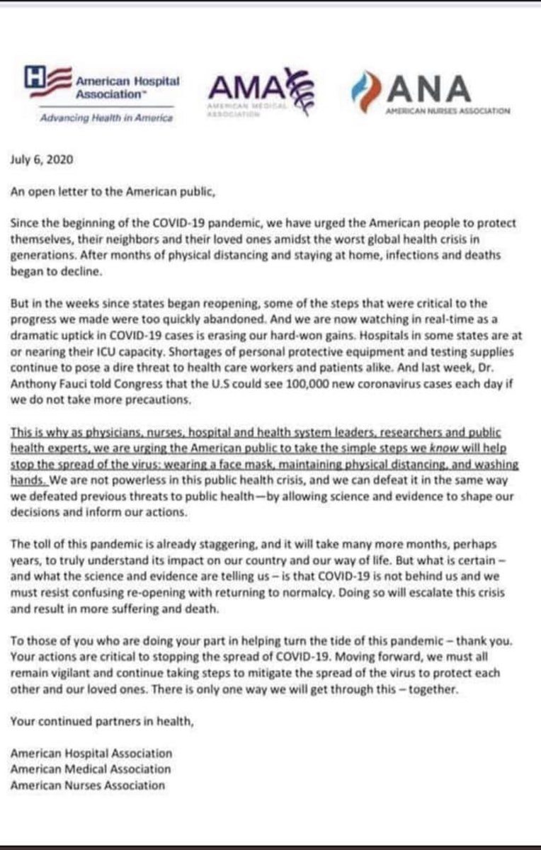 Doctors, nurses & hospitals write a letter. To us.
