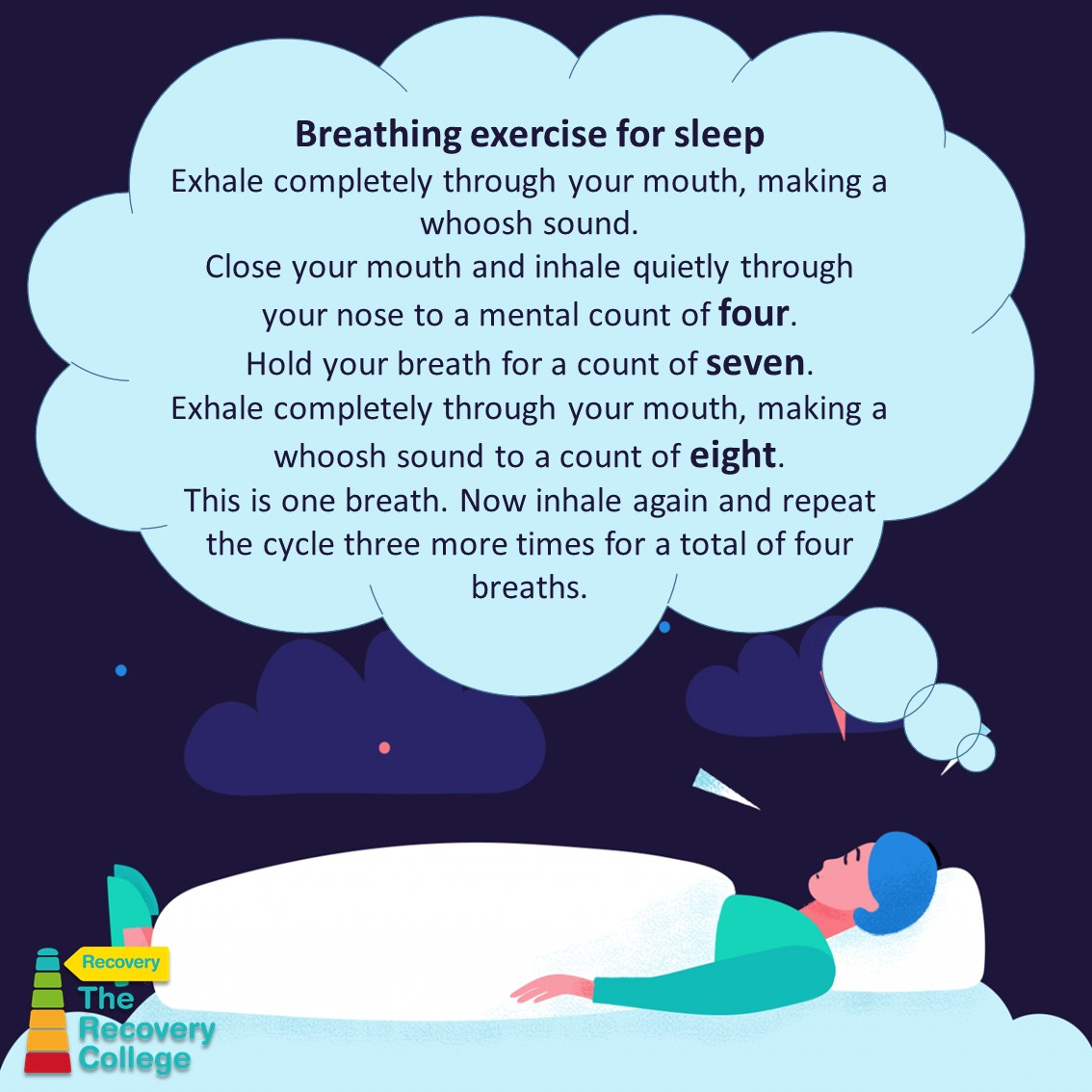 As well as helping insomniacs, the 4-7-8 breathing exercise helps to calm over-stressed minds, managing anxiety and controlling anger responses, by forcing your heartbeat to slow down @DraycottPaul @Southern_NHSFT @StaffSouthern @CarersTogether1 @CarersinSoton @italkHants