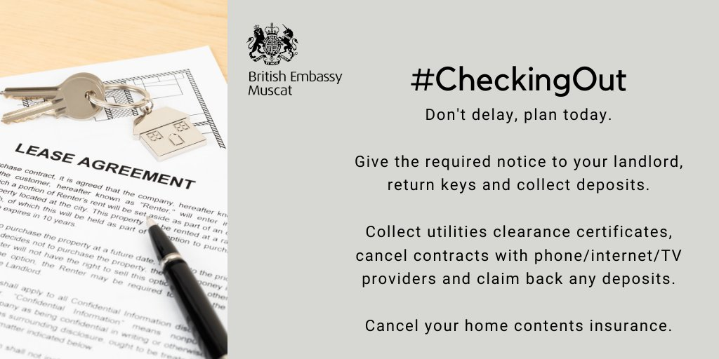#CheckingOut - dont delay, plan today 📆 If you are leaving Oman permanently, give the required notice to your landlord. Cancel any contracts for services at home (phone, TV etc) and your home contents insurance. gov.uk/world/living-i… #TravelAware
