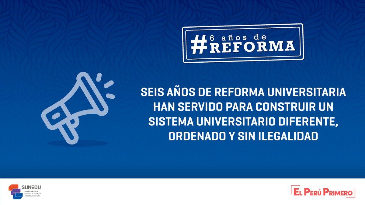A 6 años del inicio de un proceso de reforma sin precedentes, #Sunedu ha logrado eliminar la ilegalidad en el sistema universitario, beneficiando a peruanos y peruanas con una oferta educativa saneada y con mayor garantía de calidad. #6añosdeReforma  ➡ https://t.co/0FJNaZLCbY https://t.co/pkAaYsRvSJ