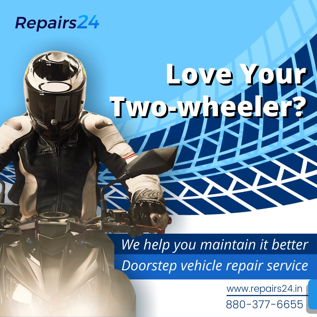 If you love your two-wheeler, take utmost care of it with a little help from us. Give us a call and our experts will come to your doorstep to repair your two-wheelers. . . . . . . . #Repairs24 #mechanic #twowheelerservice #tyrereplacement #tyrechange  #mechaniclife pic.twitter.com/dbjpekPXsM