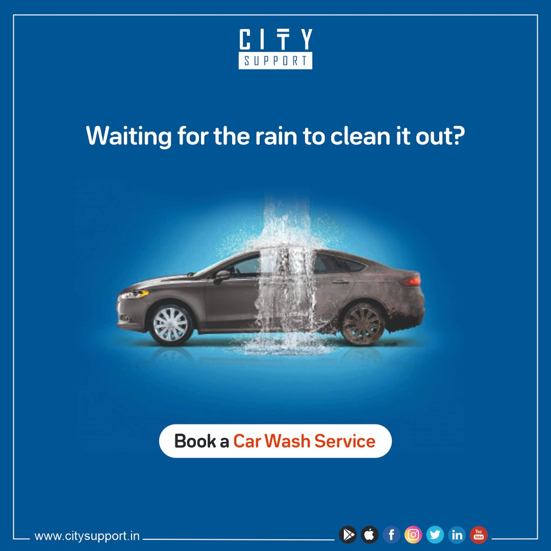 """Let the rain falls as per its mood. Get your car washed as per your convenience with City Support!!   Download the City Support App now!""  #cscitysupport #city_support #rain #homeservices #cleancar #booknow #aatmanirbharbharat #sanitizer #service #car #washing #carwashpic.twitter.com/yHYgb7pb6E"