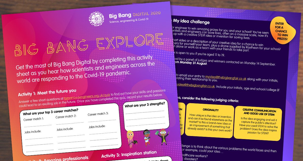 Available to download now, the Big Bang Explore activity sheet can help you plan your day on the #BigBangDigital website, with the added chance to win prizes. https://t.co/jUVGysQz72 https://t.co/watIkJ7T3O
