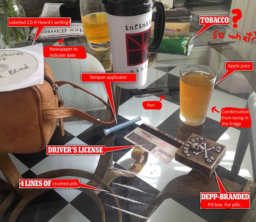 """Amber H*ard claims this is Johnny Depp's breakfast; cocaine, whiskey, and Keith Richards' music. After looking at this for 30 seconds, I fixed it and added some more labels :o)  This is the most staged """"evidence"""" I have ever seen in my life. https://t.co/fBH7Ufwhio"""