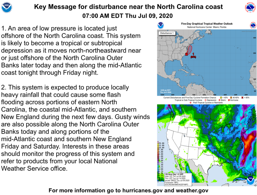 Here are the Thursday morning Key Messages regarding the low pressure area near the North Carolina coast. The system will likely become a tropical or subtropical cyclone later today or tonight.  More information: https://t.co/tW4KeFW0gB #98L https://t.co/xt9maeqxxm
