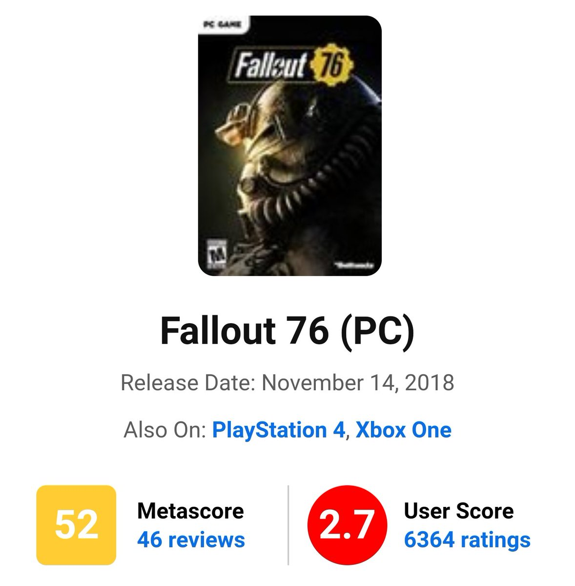 Fallout 76: 3 Year long Outrage.  6k reviews.  Battlefield 5: 1 Year long outrage.  2k reviews.  Anthem: 2 Year long outrage.  3k reviews.  MGSurvive: 1 year long outrage.  200 reviews.  TLOU2: 2 Months Outrage.  +100k reviews,  HOW? pic.twitter.com/b6bbFFj90t