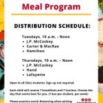 Image for the Tweet beginning: Today's meal distribution sites include