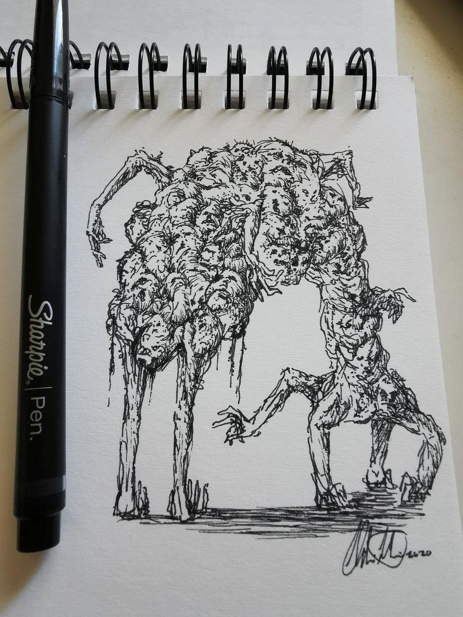 Morning sketching! Started yesterday, enjoy! #art #horror #monster #creepy #lumpofflesh #ArtistOnTwitter #inkdrawing #sketchespic.twitter.com/DZByVBwC1O