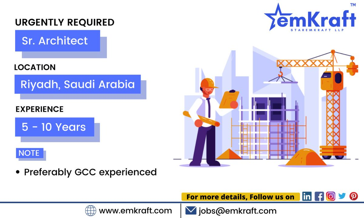 Urgently Required- Sr. Architect Interested applicants Send your CV to jobs@emkraft.com For more job updates Follow us   #architect #architecturedesign #architectjobspic.twitter.com/kBqLbWyyXg