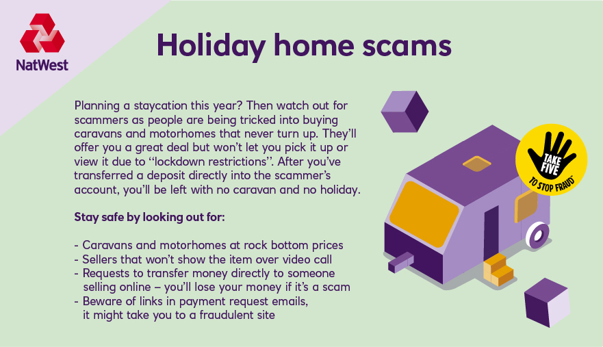 As holiday businesses and attractions prepare to re-open, scammers are targeting holiday-goers. Tap and expand each picture to read how to stay safe:  #TakeFive