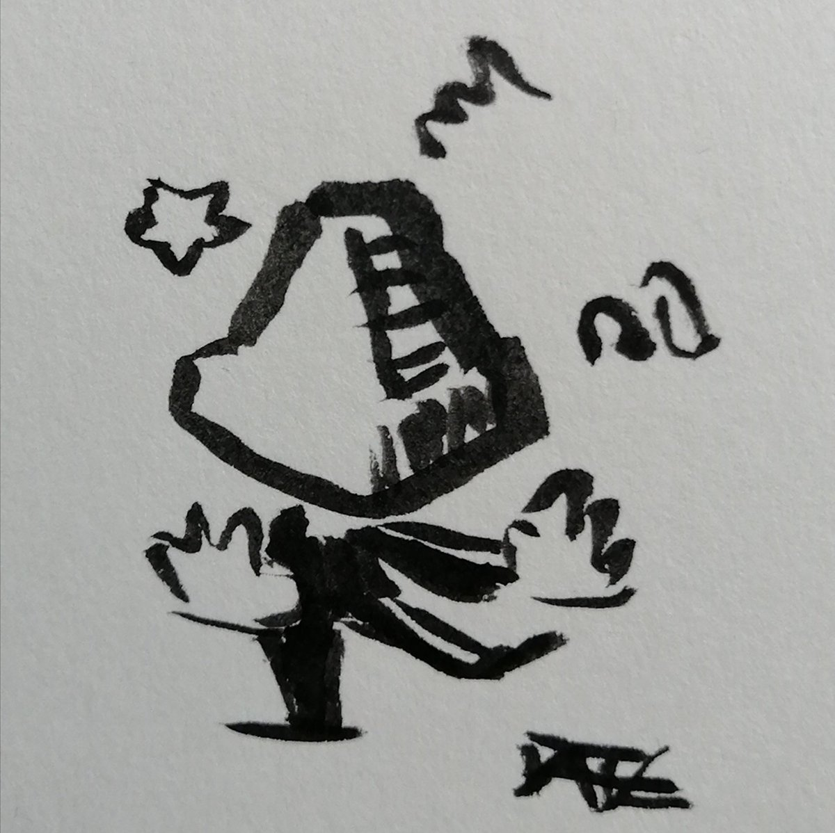 Ja, irgendwie war das keine gute Idee mit der Pyramide auf dem Kopf.  @sweetsthinking #DenkanstoßDonnerstag #LessThan60sChallenge #drawing #doodle #art #sketch #ink #inkdrawing #fanart #horrormovie #SilentHill #pyramidhead #grusel #horror #kleineKunstklasse #onedrawingadayforeverpic.twitter.com/eFuU55H4LO