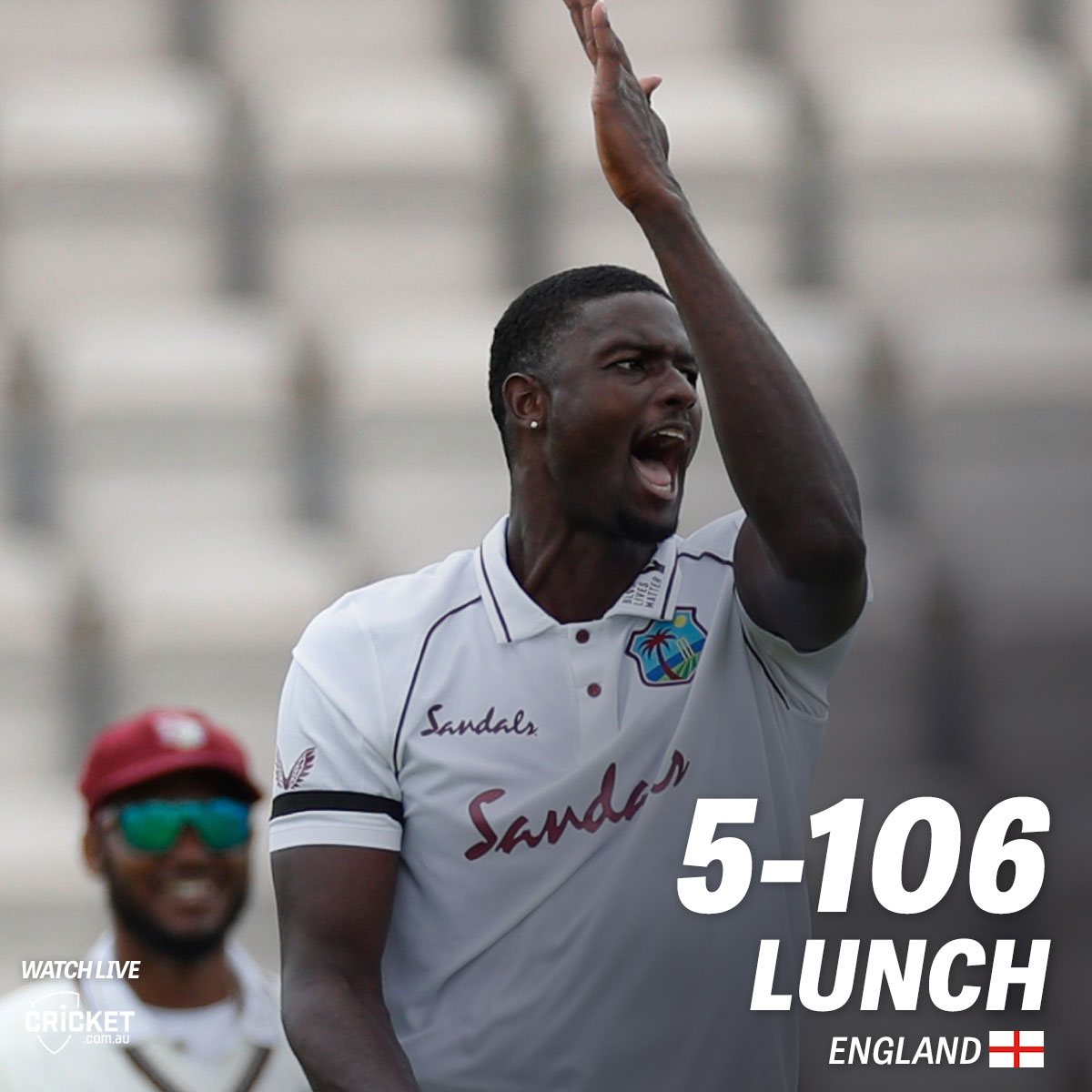West Indies are in control at lunch on day two. Fans in Australia can watch all the action after lunch right here: cricketa.us/ENGvWI20-1 #ENGvWI