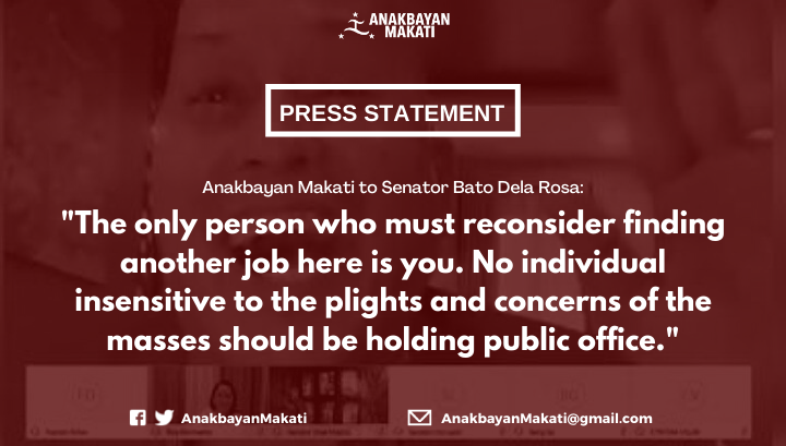 """Anakbayan Makati to Senator Bato Dela Rosa: """"The only person who must find another job here is you.""""  READ: https://www.facebook.com/106092420927148/posts/182585046611218/?app=fbl…  #OustDuterte pic.twitter.com/b0T0JSvNgt"""