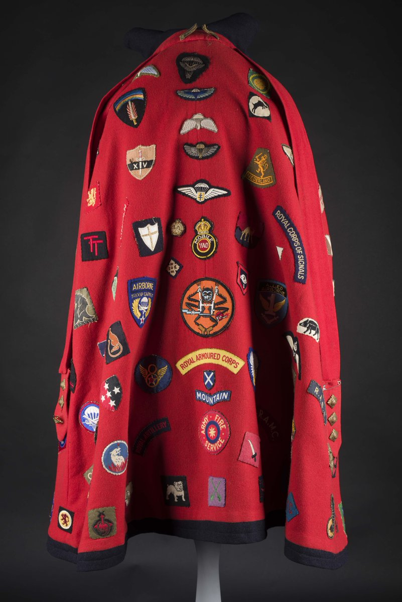 This incredible item belonged to Dorothy Smith, who worked as a Red Cross VAD nurse during the WWII. She worked in a military hospital and York in 1942 and then in Colchester from 1942-1946. Her uniform cape is decorated with badges given to her by the men she treated!