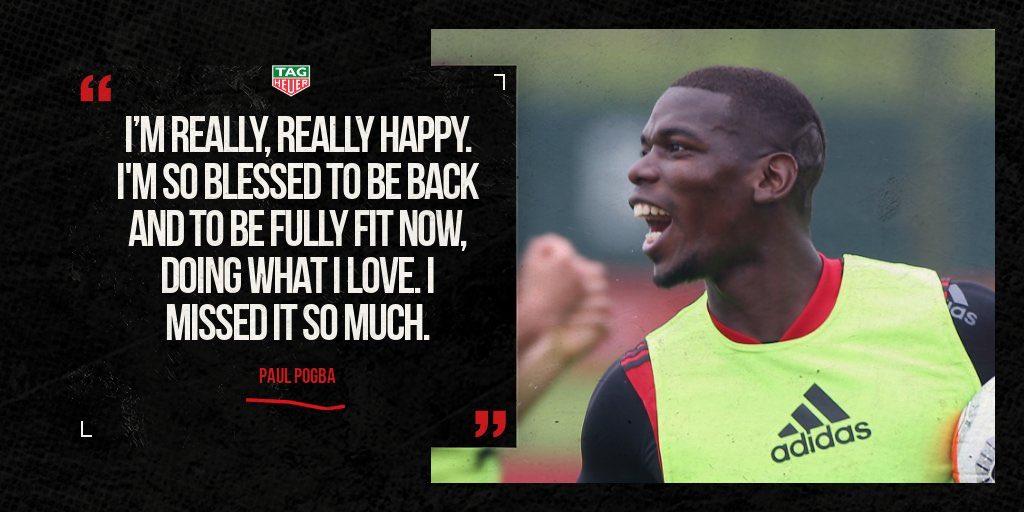 Perasaan senang @PaulPogba dengan kondisinya saat ini 😁  #MUFC #UnitedReview   ⌚ @TAGHeuer https://t.co/h2tc0ncIEJ