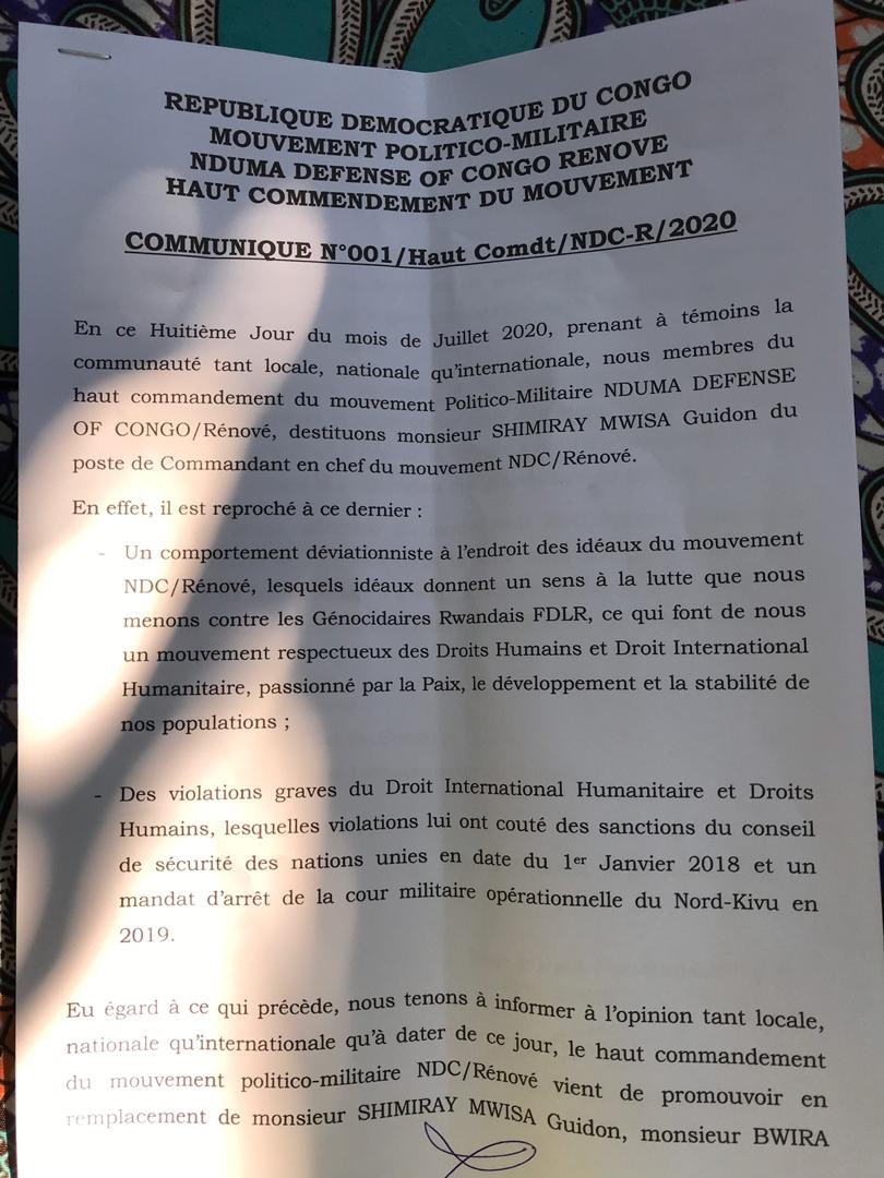 Last night, the NDC-Rénové – the biggest armed group currently operating in eastern #Congo – destituted its commander Guidon Shimiray and cut itself in two. This norning, fighting and confusion is reported in different areas in North #Kivu. Watch this space. https://t.co/ZpSlzeGa0N
