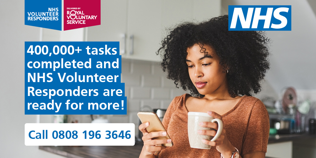 The #NHSVolunteerResponders are still here and ready to help you with things like: 🍞 delivering food shopping and essentials  💬 making regular phone calls to check-in and chat 💊 picking up your prescribed medicines. Simply call 0808 196 3646. https://t.co/8AfVxZ8diw https://t.co/yfyCtUN2vT