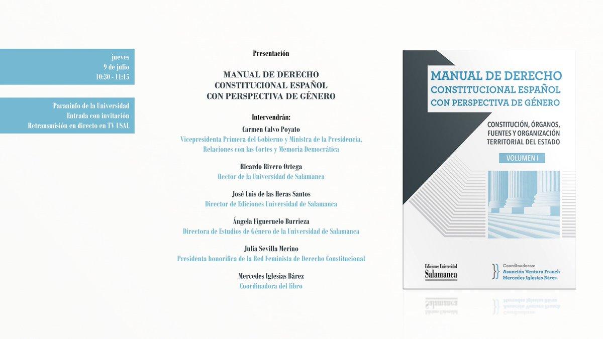 Este jueves, a partir de las 10:30 horas, tendrá lugar el acto de presentación del 'Manual de Derecho Constitucional español con perspectiva de género'.  Síguelo en directo 👉 https://t.co/acikBlNN6N https://t.co/wbwPQOsQ7c