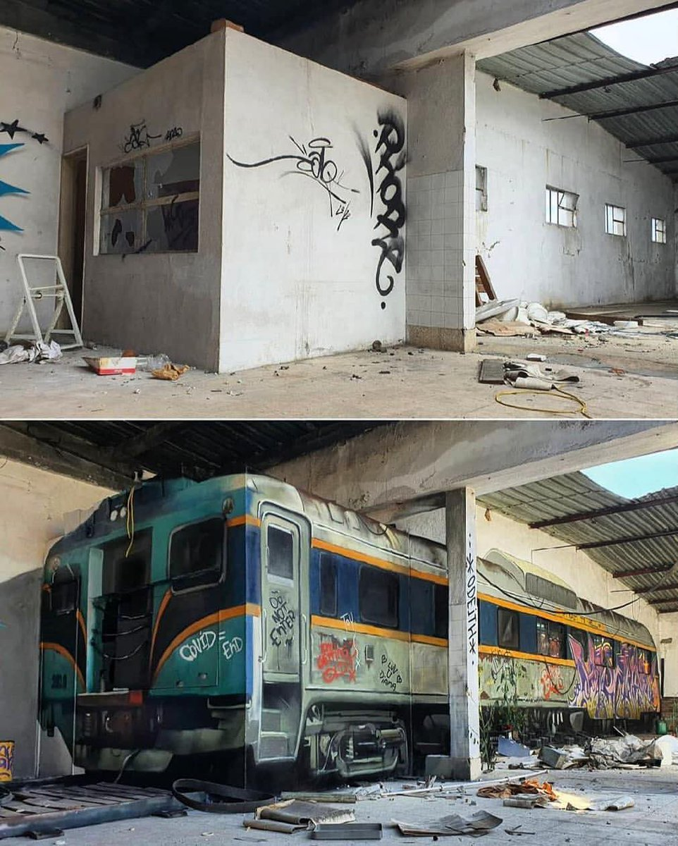 ... because some trains only pass once... if they pass. Art by Odeith #StreetArt #Art #Train #Beauty #Realism #Symbolism #Graffiti #UrbanArt #3dartpic.twitter.com/UlqG2tjaa3