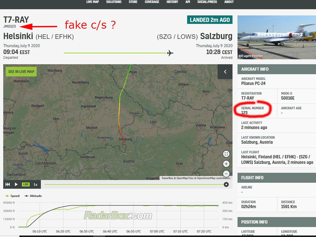 Pilatus PC-24 T7-RAY (Тимченко) прилетел из Хельсинки в Зальцбург. C/s JMG123.  Номер позывного совпадает с серийным номером джета , а позывной JMG от давно прекратившей работу а/к из Ирландии JetMagic . (У Абрамовича LX-RAY) #bizjets #T7RAY https://t.co/3rrQT6lJ6w
