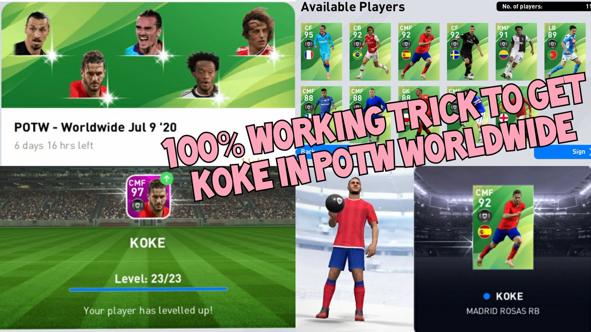 https://t.co/VLGaeYTo36 How to get KOKE (97 rated) in POTW today 100% working trick🔥✨🥅 Visit the above link🔝 #pes #PES2020 #pes2021 #pes2020mobile #pes20 #eFootballPES2020Mobile #eFootballPES2020 #eFootballPES2021 #eFootball #konami #PESMOBILE #pesmobile2020 #koke #boxdraw https://t.co/h9gZHoS6FA