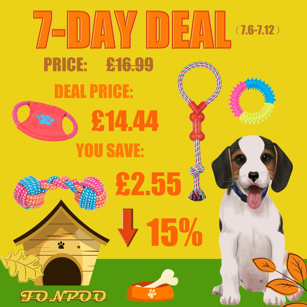 Looking for Dog Toy???Chase this opportunity, 7-Day-Deal, buy happiness for you lovely dog~#FONPOO #dogtoy #Amazon #Deal #discount  [Get it from Amazon:https://amzn.to/2DiYbeQ pic.twitter.com/jqkLKsZHWi