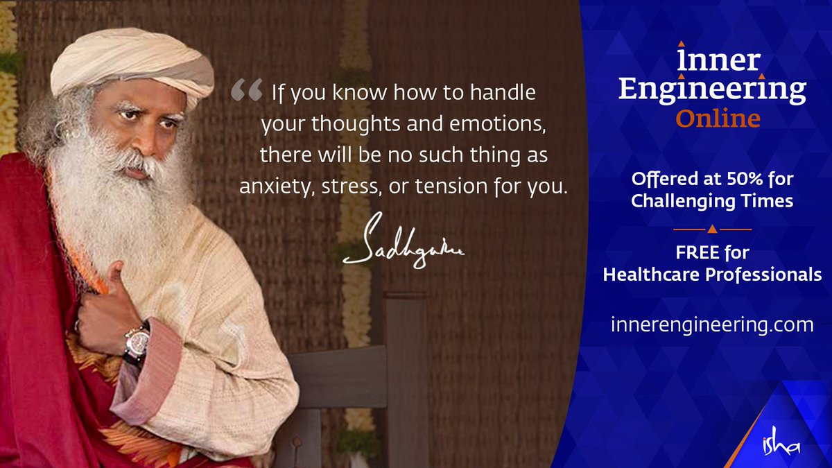 #InnerEngineeringOnline, consisting of 7 powerful sessions with Sadhguru, is offered at 50% cost. Do the program in your own space at your own pace.  To register visit: https://t.co/oMT7S7iNyd  #Yoga #Meditation #HealthyLiving #ThursdayMotivation https://t.co/ZXr6zYApHx