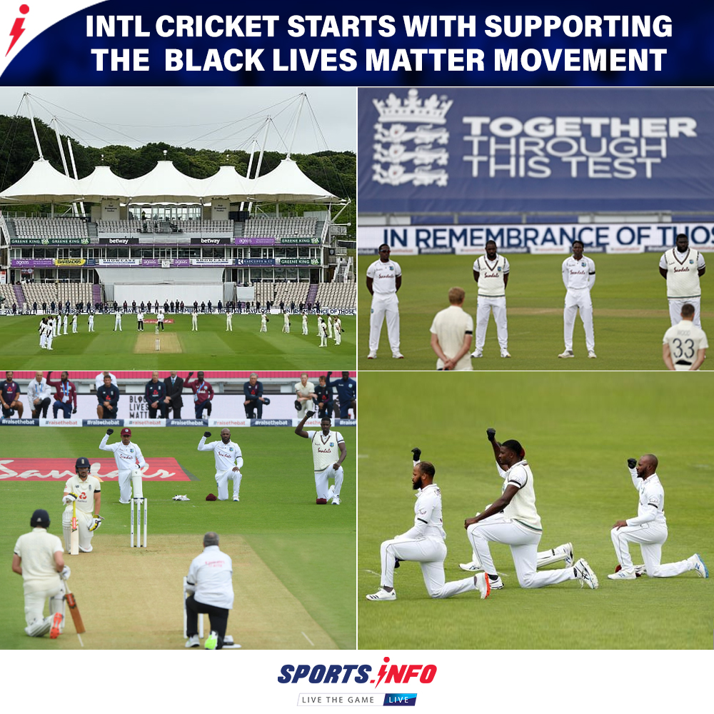 Before the beginning of the 1st Test, both England and West Indies teams have shown their support to the Black Lives Matter Movement.  . . #ENGvWI #BlackLivesMatter  #RaiseTheBat #SportsDotInfo #cricketisback #MenInMaroon #thursdayvibes<br>http://pic.twitter.com/h0N7GdFACD