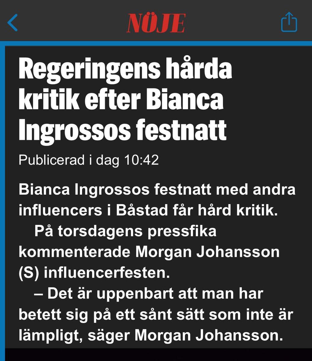 Morgan Johansson har dock avböjt debatt med Bianca Ingrosso, eftersom han inte var bjuden på festen. https://t.co/omdAx5sg8d