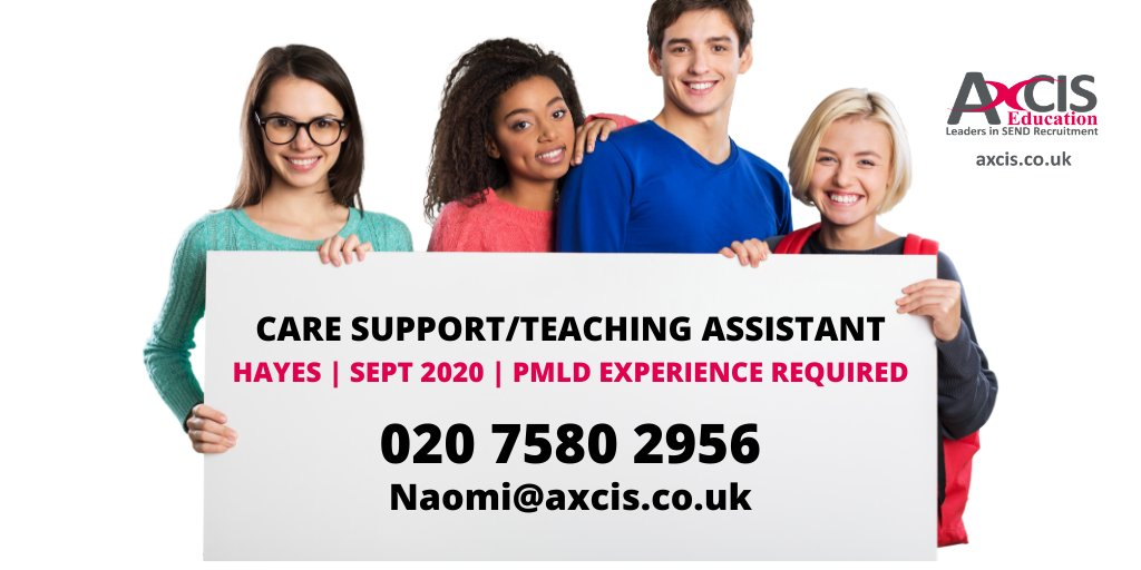 Care #supportworker/#TA needed to support a pupil with #PMLD on a 1:1 basis at a #SEND school in #Hayes, London | Exp working with older children with #PMLD & limited mobility | #Manualhandling exp is a must | E: naomi@axcis.co.uk / call her on 02075802956 pic.twitter.com/oIQCsKYlWO