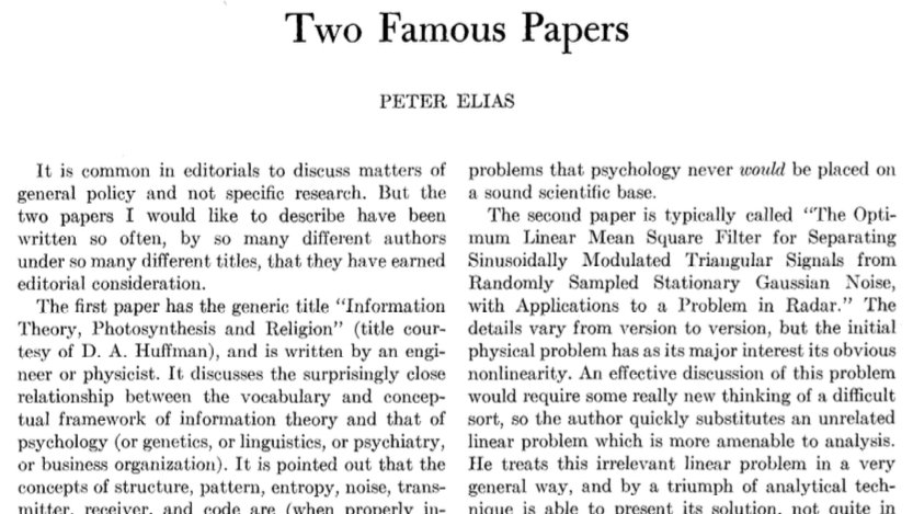 Peter Elias wrote this editorial in 1958, but I swear I reviewed both of these papers last week. [PDF link: https://t.co/37RUoT9PwL] https://t.co/3f5I16BDF2